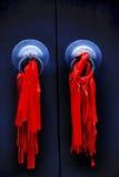 Black Door Red Ribbons Jade Buddha Temple Shanghai Royalty Free Stock Image