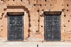 Black doors Badi Palace Stock Photography