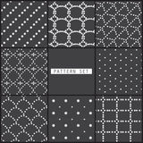 8 black dot patterns. 8 different dotted patterns.  Modern stylish texture.  can be used for wallpaper, pattern fills, web page background Stock Photos