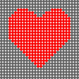 Black dots and a red heart from dots Royalty Free Stock Photos