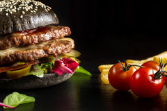 Black double hamburger made from beef, with jalapeno pepper-2 Royalty Free Stock Photos