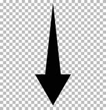 Black down arrow on transparent. down arrow.