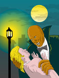 Black Dracula vampire with victim. Vector illustration of a Black Dracula about to sink his fangs to his victim Stock Photos