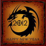 Black Dragon. 2012 New Year Card. Vector illustration Stock Photos