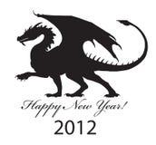 Black dragon. Silhouette of a black dragon of 2012 royalty free illustration