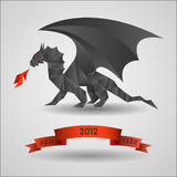 Black dragon. Origami Black dragon - symbol of 2012 year.Vector royalty free illustration