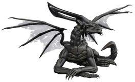 Black dragon in white background. The black dragon attacking in white background vector illustration