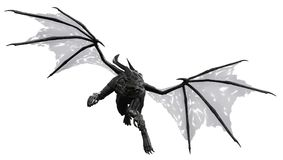 Black dragon in white background. The black dragon attacking in white background royalty free illustration