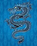 Black dragon on blue background Stock Photo