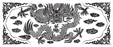 Black dragon with cloud and line chinese Royalty Free Stock Image