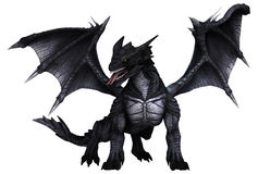 Black dragon. 3D render of a black dragon with large wings Stock Photos