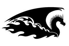Black dragon fire. Black dragon fire on a white background Royalty Free Stock Images
