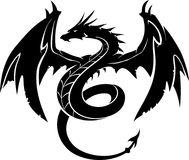 Black Dragon Front. Mythical creature fantasy dragon silhouette, in mid air position, isolated artwork vector illustration