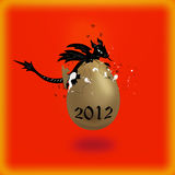 Black dragon and gold egg on a red background. Small dragon hatched from an egg Royalty Free Stock Photo
