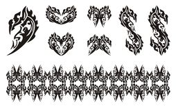 Black dragon head symbols in tribal style Stock Photography