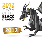 Black dragon origami. And a golden label - great design template for poster / placard / brochure cover / wallpaper / greeting card Royalty Free Stock Image