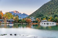 Black Dragon Pond Scenery of Yulong Snow Mountain in Lijiang, Yunnan, China stock photo