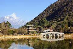 Black Dragon Pool Jade Dragon Snow Mountain in Lijiang, Yunnan, China Royalty Free Stock Image