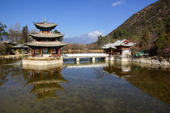 Black Dragon Pool Jade Dragon Snow Mountain in Lijiang, Yunnan, China Royalty Free Stock Photography