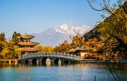 Black Dragon Pool Park-Lijiang old town scene Stock Images