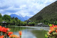 Black Dragon Pool Park-Lijiang old town scene Royalty Free Stock Photo