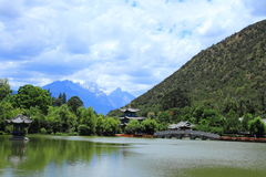 Black Dragon Pool Park-Lijiang old town scene Stock Image