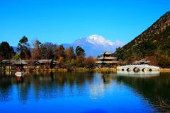 The Black dragon Pool Park under Jade Dragon Snow Mountain. Located in Lijiang city , Yunnan province , China stock image