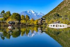 Black Dragon Pool with reflection of Jade Dragon snow mountain Stock Image