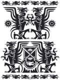 Black dragon set 01. Black dragon symbol set 01. Black and white royalty free illustration