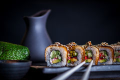 Black dragon sushi roll Stock Image