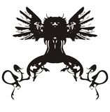 Black dragon symbol. Black dragon with wings - symbol of 2012 - isolated on a white background. Vector illustration Royalty Free Stock Photo