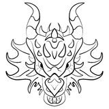 Black dragon tattoo design on white background Stock Images
