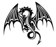 Black dragon. Tattoo isolated on white background. Vector illustration Stock Photos