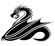 Black dragon. Vector sign isolated on white background. Black dragon Royalty Free Stock Photography