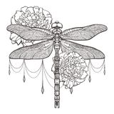 Black dragonfly Aeschna Viridls and peonies. T-shirt design. Isolated on white background. Dragonfly tattoo sketch vector illustration