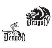 Black dragons on a white background Royalty Free Stock Photo