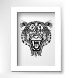 Black drawing head tiger drawing with the opened Stock Photography