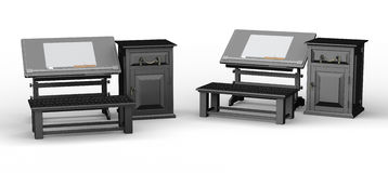 Black drawing table with bench and cabinet set , clipping path i Royalty Free Stock Images