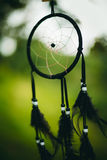 Black dream catcher on green background Stock Images
