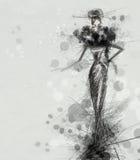 Black dress. Fashion illustration of a femme fatale in a black dress vector illustration