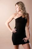 Black dress. Young woman poses wearing a black dress Royalty Free Stock Photography