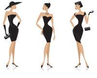 Black dress. Vector illustration of three elegant ladies in black dresses Stock Images
