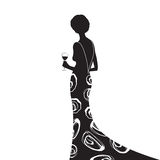 The Black Dress. Woman in silhouette wearing an elegant black dress with flower design, holding a glass of red wine, black and white on a white background Royalty Free Stock Images