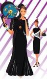 Black Dress Girls. Black dress beautiful party girls Royalty Free Stock Image