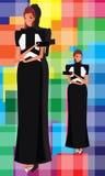 Black Dress Hot Girl. Black dress beautiful girl with purse Stock Photos