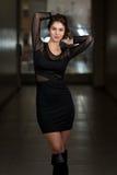 In Black Dress modelo con la manga larga de la gasa Imágenes de archivo libres de regalías
