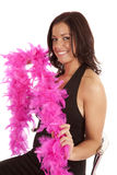 Black dress pink boa woman Stock Photos