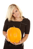 Black dress pumpkin smile Royalty Free Stock Images