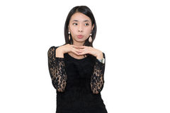Black-dressed beautiful Asian woman Royalty Free Stock Photos