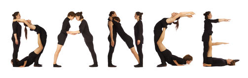 Black dressed people forming DANCE word. Over white Royalty Free Stock Photography
